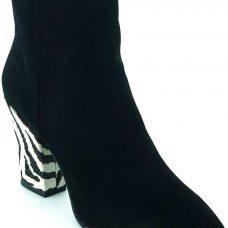 Botine dama, piele intoarsa, negre cu model zebra
