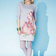 Rochie dama tricotata, imprimeu floral