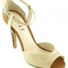 Sandale dama piele lacuita, bej, toc 10.5 cm