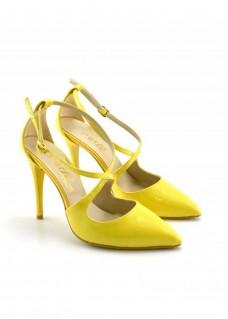 Pantofi dama galbeni cu toc de 11 cm